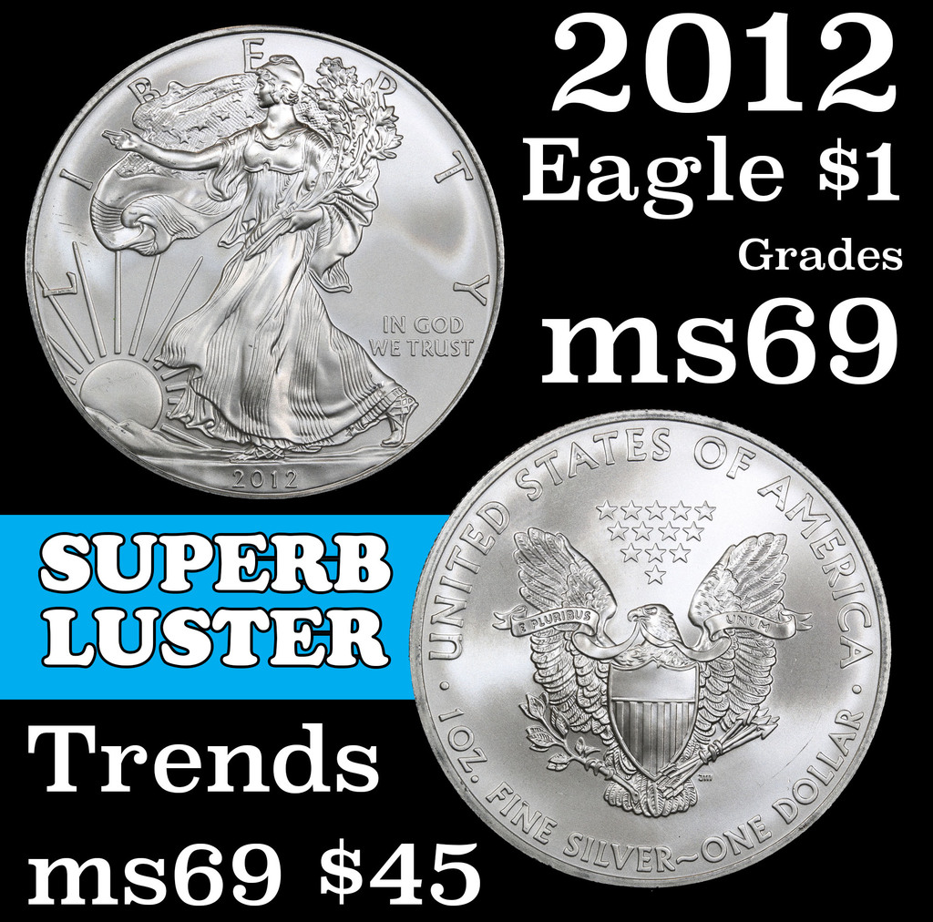 2012 Silver Eagle Dollar $1 Grades ms69