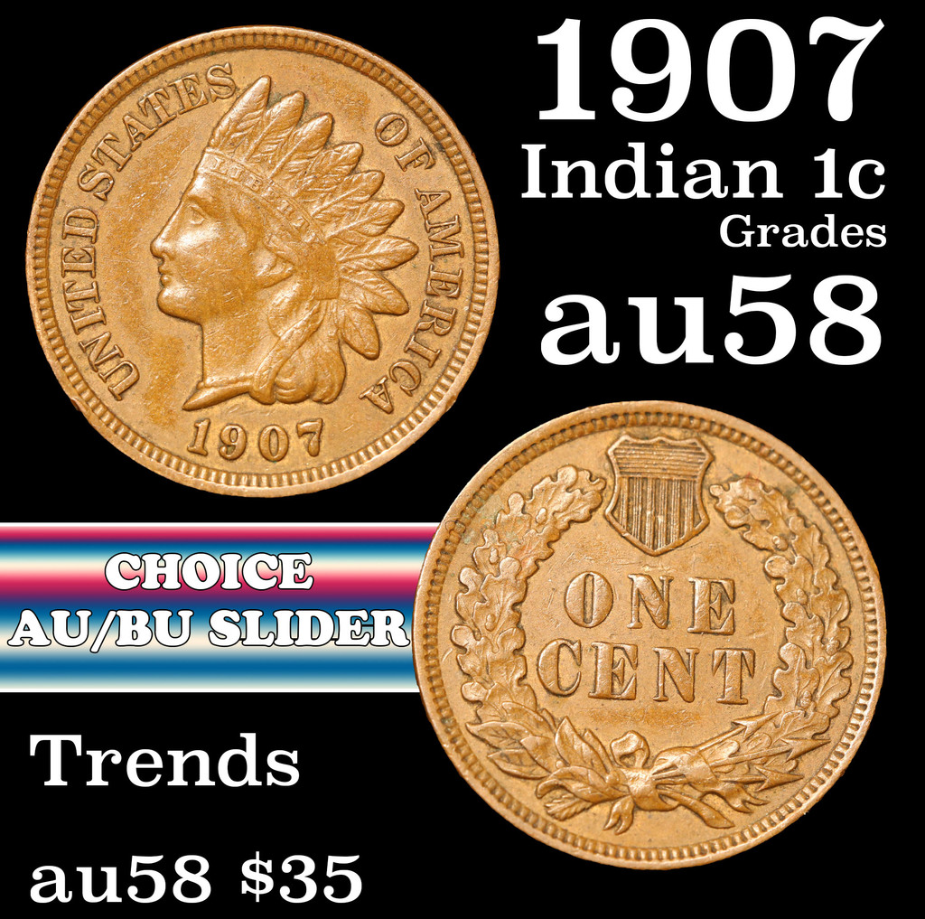1907 Indian Cent 1c Grades Choice AU/BU Slider