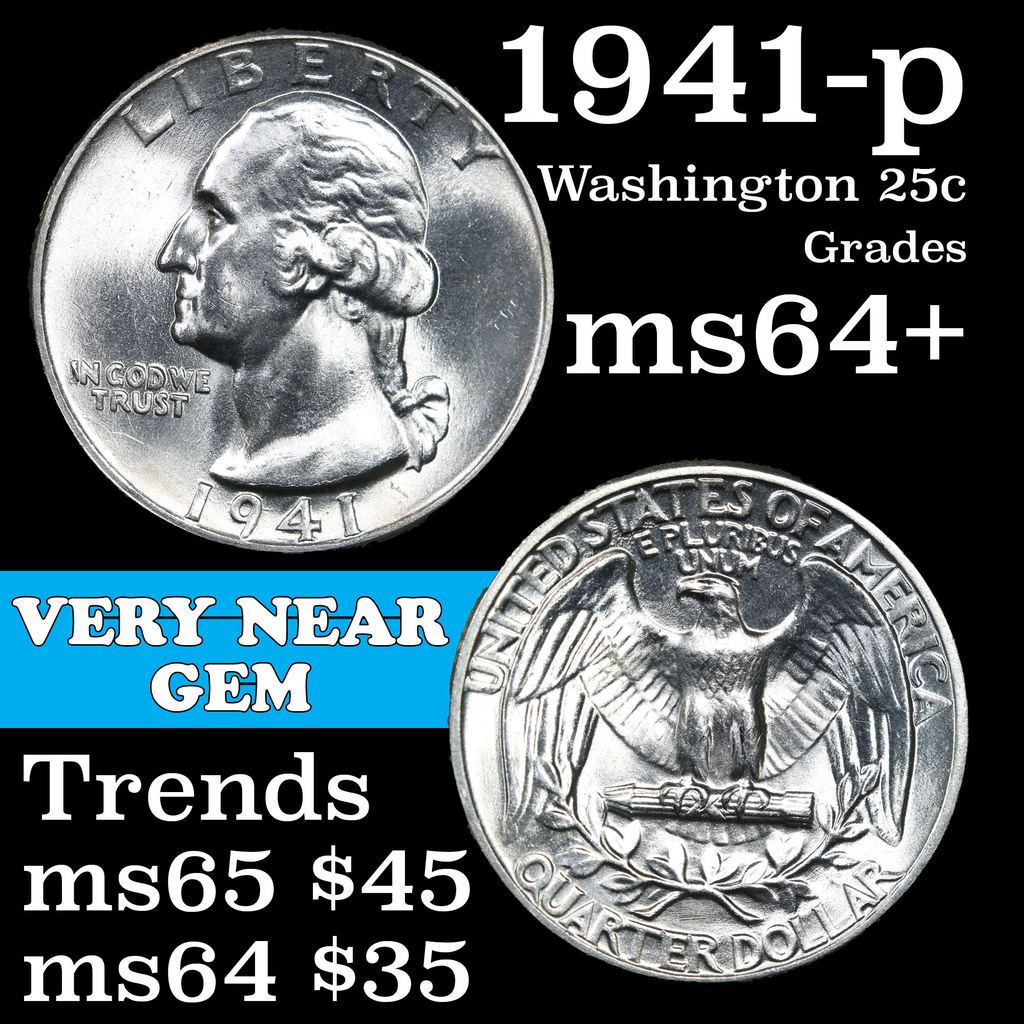 1941-p Washington Quarter 25c Grades Choice+ Unc