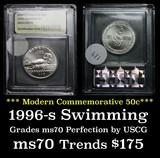 1996-s Olympics Swimming Modern Commem Half Dollar 50c Graded ms70, Perfection by USCG
