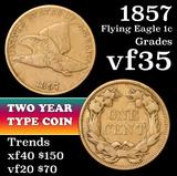 1857 Flying Eagle Cent 1c Grades vf++