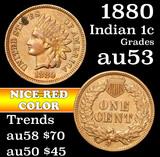 1880 Indian Cent 1c Grades Select AU