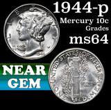 1944-p Mercury Dime 10c Grades Choice Unc