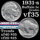 1931-s Buffalo Nickel 5c Grades vf++