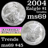 2004 Silver Eagle Dollar $1 Grades ms69