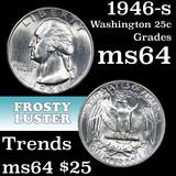 1946-s Washington Quarter 25c Grades Choice Unc