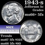 1943-s Jefferson Nickel 5c Grades GEM++ 5fs