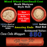 Lincoln Wheat cents 1c orig shotgun roll, 1912-s one end, 1865 Indian cent other end