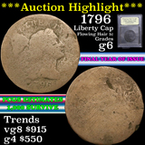***Auction Highlight*** 1796 Liberty Cap Flowing Hair large cent 1c Graded g+ by USCG (fc)