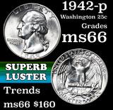 1942-p Washington Quarter 25c Grades GEM+ Unc