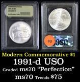 1991-d USO Modern Commem Dollar 1 Graded ms70, Perfection by USCG