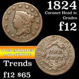 1824 Coronet Head Large Cent 1c Grades f, fine