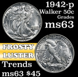 1942-p Walking Liberty Half Dollar 50c Grades Select Unc