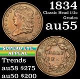 1834 Classic Head half cent 1/2c Grades Choice AU (fc)