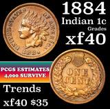 1884 Indian Cent 1c Grades xf