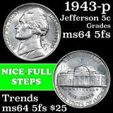 1943-p Jefferson Nickel 5c Grades Choice Unc 5fs