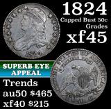 1824 Capped Bust Half Dollar 50c Grades xf+