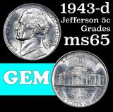 1943-d Jefferson Nickel 5c Grades GEM Unc