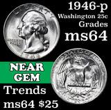 1946-p Washington Quarter 25c Grades Choice Unc