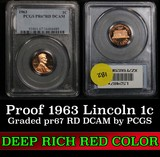 1963 Lincoln Cent 1c Graded pr67 RD DCAM by PCGS