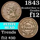 1843 Braided Hair Large Cent 1c Grades f, fine