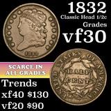 1832 Classic Head half cent 1/2c Grades vf++