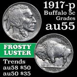 1917-p Buffalo Nickel 5c Grades Choice AU