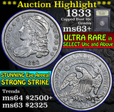 ***Auction Highlight*** 1833 Capped Bust Dime 10c Graded Select+ Unc by USCG (fc)