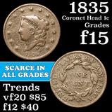 1835 Coronet Head Large Cent 1c Grades f+