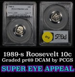 1989-s  Roosevelt Dime 10c Graded pr69 DCAM by PCGS