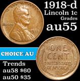 1918-d Lincoln Cent 1c Grades Choice AU