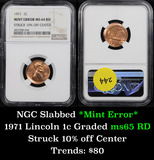NGC 1971-p Struck 10% off center mint error Lincoln Cent 1c Graded ms64 RD by NGC