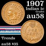 1907 Indian Cent 1c Grades Choice AU/BU Slider