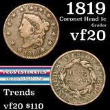 1819 Coronet Head Large Cent 1c Grades vf, very fine