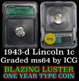 1943-d Lincoln Cent 1c Graded ms64 by ICG