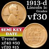 1913-d Lincoln Cent 1c Grades vf++