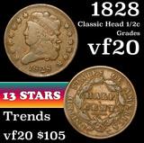 1828 Classic Head half cent 1/2c Grades vf, very fine