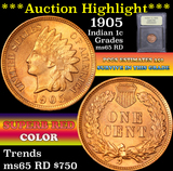 ***Auction Highlight*** 1905 Indian Cent 1c Graded GEM Unc RD by USCG (fc)