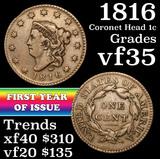 1816 Coronet Head Large Cent 1c Grades vf++
