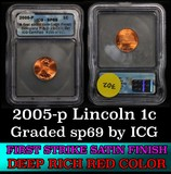 2005-p Lincoln Cent 1c Graded sp69 by ICG