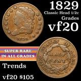 1829 Classic Head half cent 1/2c Grades vf, very fine