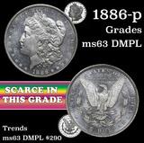 1886-p Morgan Dollar $1 Grades Select Unc DMPL