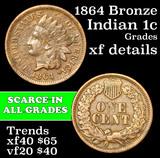 1864 Bronze Indian Cent 1c Grades xf details