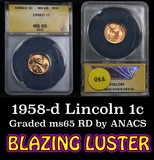 ANACS 1958-d Lincoln Cent 1c Graded ms65 by ANACS