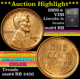 ***Auction Highlight*** 1909-s VDB Lincoln Cent 1c Graded Choice Unc RB by USCG (fc)