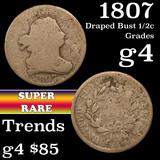 1807 Draped Bust Half Cent 1/2c Grades g, good