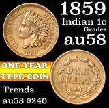 1859 Indian Cent 1c Grades Choice AU/BU Slider (fc)