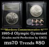 1995-d Olympics Gymnastics Modern Commem Dollar 1 Graded ms70, Perfection by USCG
