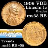 1909 VDB Lincoln Cent 1c Grades Select Unc RB