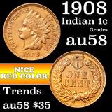 1908 Indian Cent 1c Grades Choice AU/BU Slider